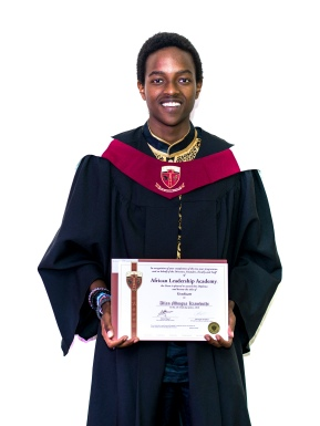 Allan Kiambuthi graduating from African Leadership Academy